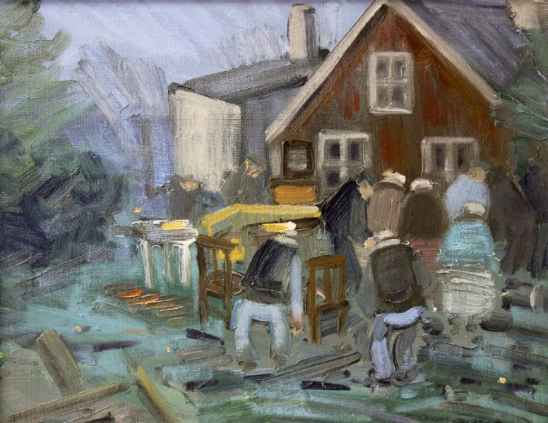 Oil Painting Expressionist Åke Wickström 1927 People Home